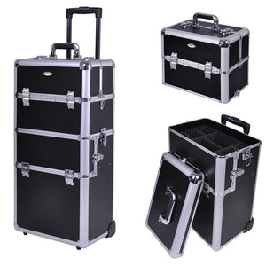 "2in 1 38"" Rolling Cosmetic Makeup Train Cases Trolley Professional"