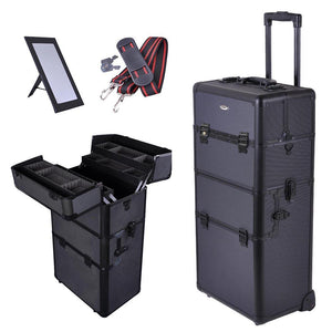 "2in1 Black 38"" Makeup Aluminum Rolling Cosmetic Train Case Hair Style"