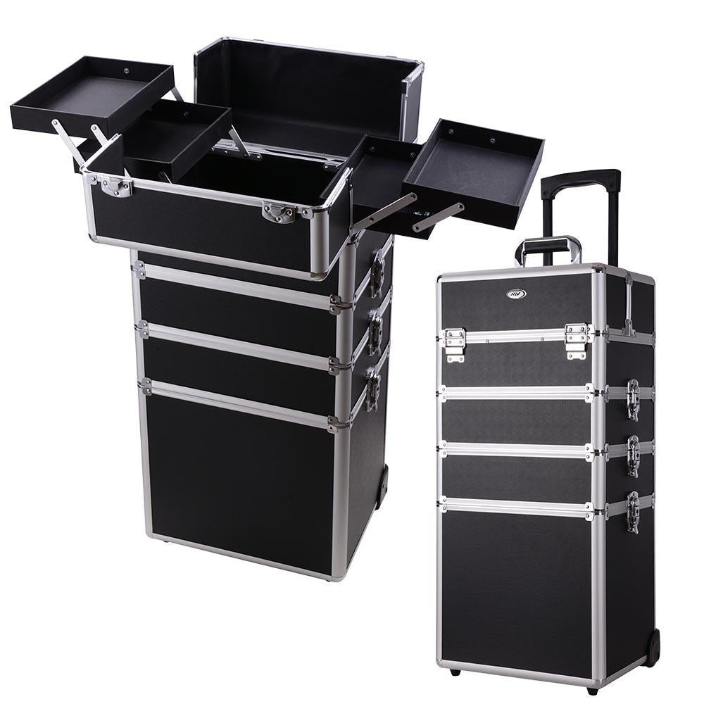 4 in1 Rolling Makeup Artist Train Case Lockable Trolley Cosmetic