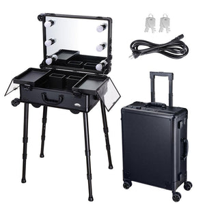 "Rolling Makeup Case 16x10x22"" with LED Light Mirror Adjustable Legs"