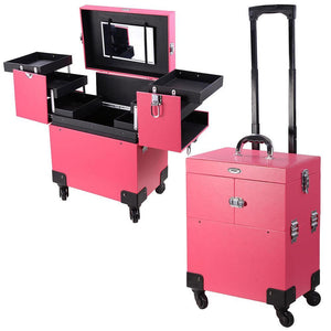 Pink 4 Rolling Wheel 14x9x19 PVC Artist Makeup Cosmetic Train Case