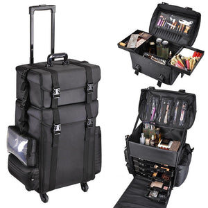 2in1 Black Soft Sided Rolling Makeup Case Oxford Fabric Cosmetic