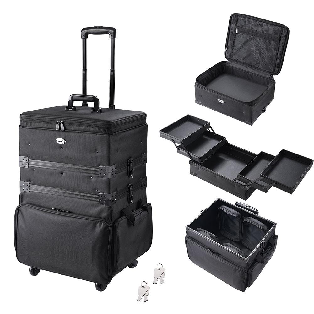 AW 3 in 1 Soft Rolling Makeup Case w/ 4 wheels Oxford