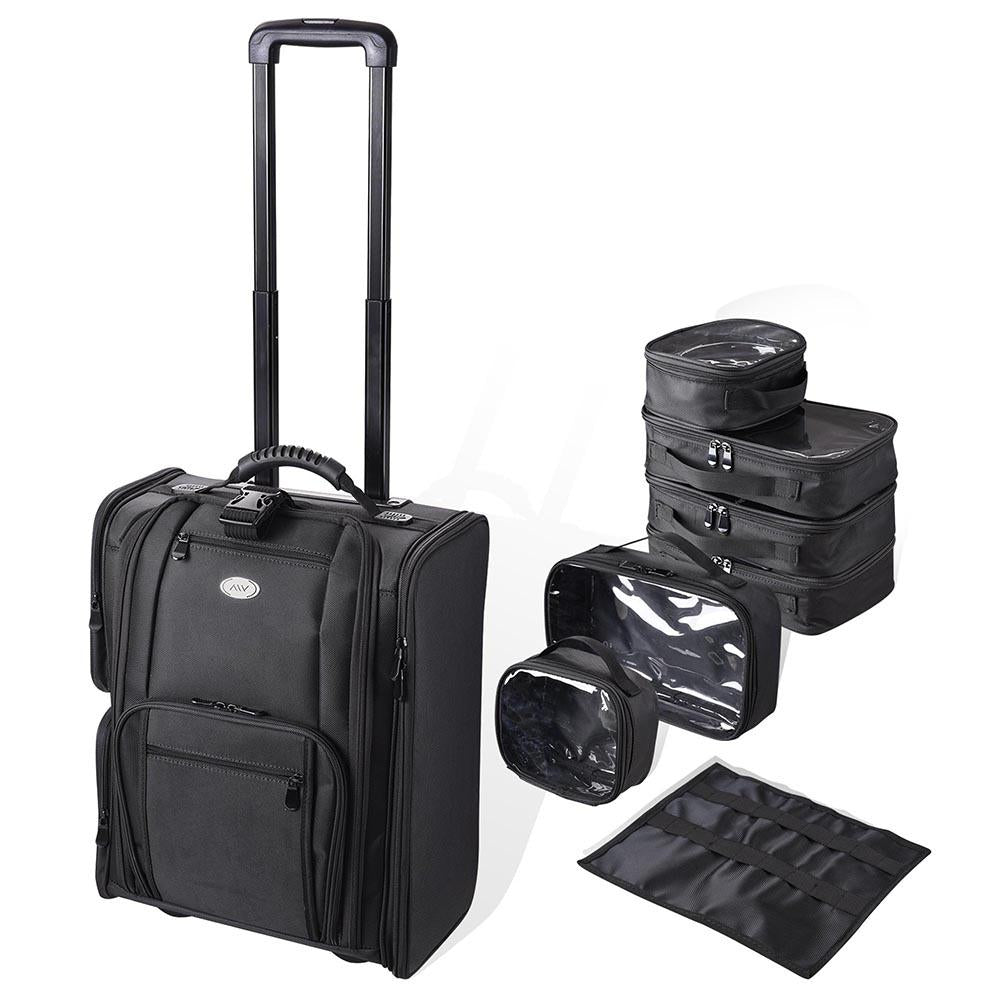 AW Rolling Makeup Case w/ 6 Makeup Organized Bags
