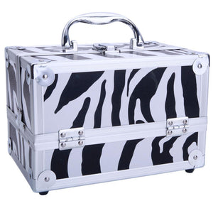 "SM-2176 Aluminum Makeup Train Case Jewelry Box Cosmetic Organizer with Mirror 9""x6""x6"" White Zebra"