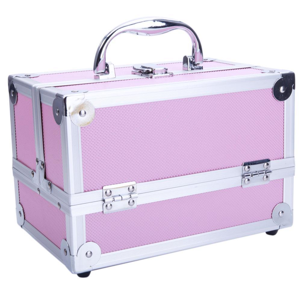 "SM-2176 Aluminum Makeup Train Case Jewelry Box Cosmetic Organizer with Mirror 9""x6""x6"" Pink"