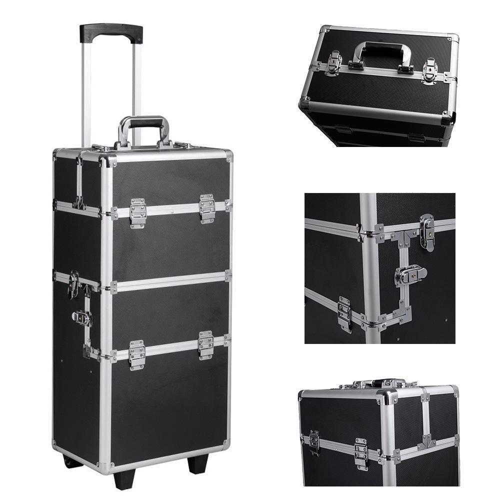 3-in-1 Draw-bar Box Design Portable Diamond Style Makeup Case Black