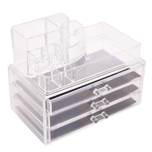 Rectangular Room-saving 3-Layer Drawers Plastic Makeup Case Transparent