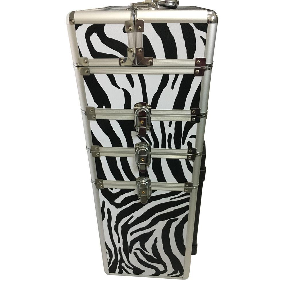 4-in-1 Draw-bar Style Leopard Pattern Aluminum Rolling Makeup Case White Zebra