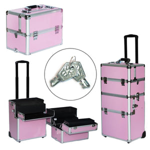 SM-7072 Pro 3-in-1 Aluminum Rolling Makeup Cosmetic Train Case Wheeled Box Pink