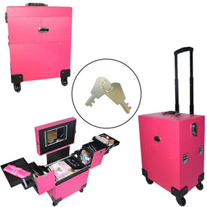 Portable Aluminum Cosmetic Makeup Case Tattoo Box with PVC Mirror Pink