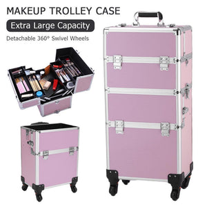 3 in 1 Aluminum Cosmetic Makeup Case Tattoo Box Pink