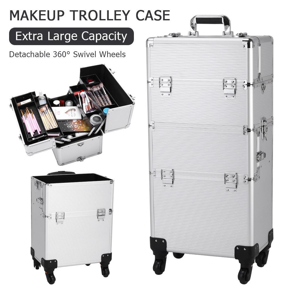 3 in 1 Aluminum Cosmetic Makeup Case Tattoo Box Silver