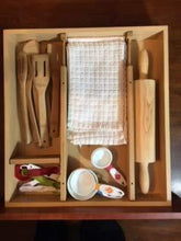 Load image into Gallery viewer, Home one cottage adjustable wood drawer organizer set with 4 bonus pieces for kitchen utensils and silverware bathroom makeup and toiletries and office desk supplies makes the most of your storage