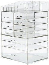 Load image into Gallery viewer, Budget friendly cq acrylic extra large 8 tier clear acrylic cosmetic makeup storage cube organizer with 10 drawers the top of the different size of the compartment suitable for storing lipstick and makeup brush