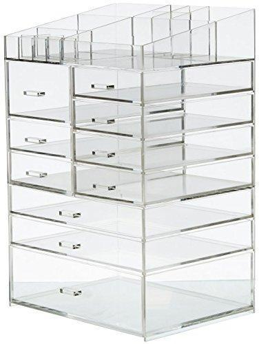 Budget friendly cq acrylic extra large 8 tier clear acrylic cosmetic makeup storage cube organizer with 10 drawers the top of the different size of the compartment suitable for storing lipstick and makeup brush