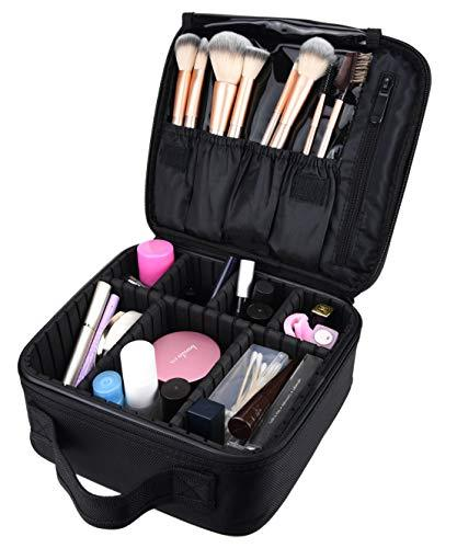 10  Professional Portable Travel Makeup Case Cosmetic Bags Organizer Storage Bag Train Case (Black)
