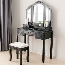 Load image into Gallery viewer, On amazon mecor makeup vanity table w tri folding mirror wood dressing table bedroom vanity set w cushioned stool 5 drawers storage for girls women black