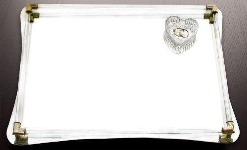 Budget friendly american atelier decorative jewelry tray beautiful jeweled mirror valet catchall w handles for jewelry perfume toiletries or makeup for dresser vanity table bathroom more