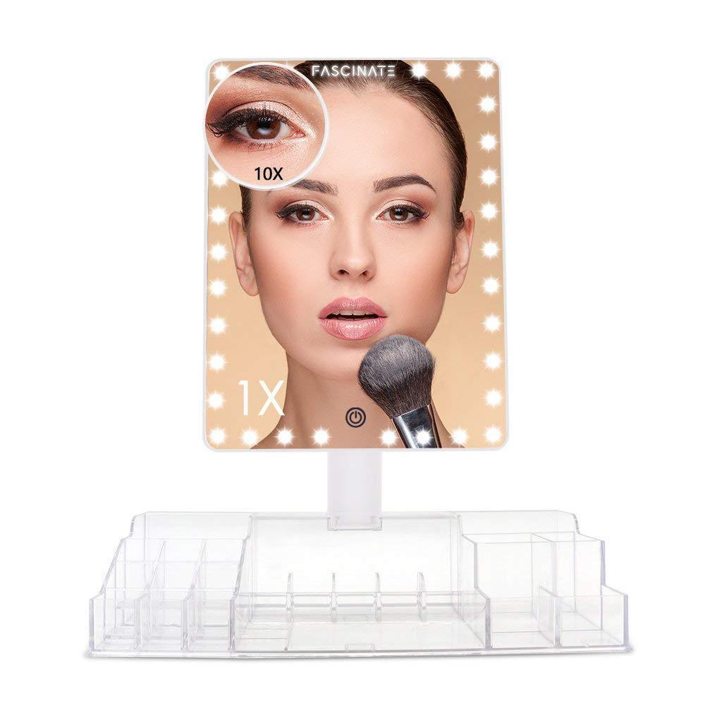 Amazon best fascinate xl makeup mirror with storage organizer vanity mirror w lights and 10x magnification 32 leds cosmetic mirror w acrylic makeup organizer touch screen dual power 360 rotation tabletop mirror