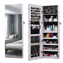 Load image into Gallery viewer, Explore aoou jewelry organizer jewelry cabinet full screen display view larger mirror full length mirror large capacity dressing mirror makeup jewelry armoire jewelry mirror full length mirror white