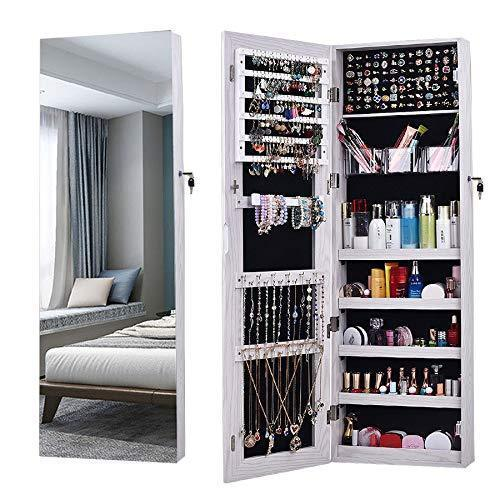 Explore aoou jewelry organizer jewelry cabinet full screen display view larger mirror full length mirror large capacity dressing mirror makeup jewelry armoire jewelry mirror full length mirror white