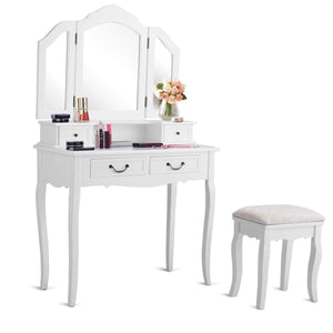 Amazon best charmaid vanity set with tri folding mirror and 4 drawers makeup dressing table with cushioned stool makeup vanity set for women girls bedroom makeup table and stool set white
