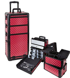 Professional 3 in 1 Rolling Makeup Case with Drawers
