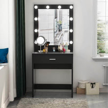 Load image into Gallery viewer, Discover the best tribesigns vanity set with lighted mirror makeup vanity dressing table dresser desk with large drawer for bedroom black 10 cool led bulbs