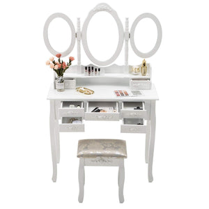 On amazon honbay trifold mirrors makeup vanity table set cushioned stool and surprise gift makeup organizer with 7 drawers dressing table white