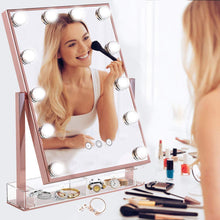 Load image into Gallery viewer, Online shopping hollywood lighted vanity makeup mirror light up professional mirror with storage 3 color lighting modes large cosmetic mirror with 12 dimmable bulbs for dressing table