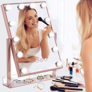 Online shopping hollywood lighted vanity makeup mirror light up professional mirror with storage 3 color lighting modes large cosmetic mirror with 12 dimmable bulbs for dressing table