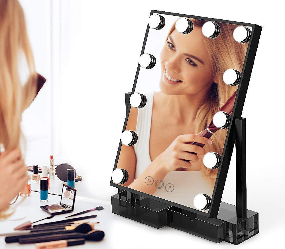The best lighted vanity mirror with 12 dimmable led bulbs and touch control design 3 color lighting modes large hollywood style makeup cosmetic mirrors with lights for dressing table