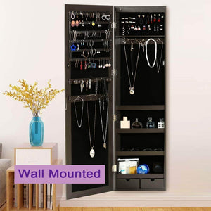 Storage risar mirror jewelry cabinet wall door mounted jewelry armoire organizer with full length dressing mirror makeup jewelry storage brown