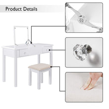 Load image into Gallery viewer, Best seller  aodailihb vanity table with flip top mirror makeup dressing table writing desk with cushioning makeup stool set 2 drawers 3 removable organizers easy assembly white