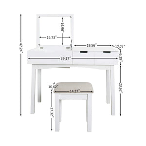 Shop for vanity set with dressing table flip top mirror organizer cushioned stool makeup wooden writing desk 2 drawers easy assembly beauty station bathroom white