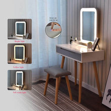 Load image into Gallery viewer, Featured vanity table set with adjustable brightness mirror and cushioned stool dressing table vanity makeup table with free make up organizer