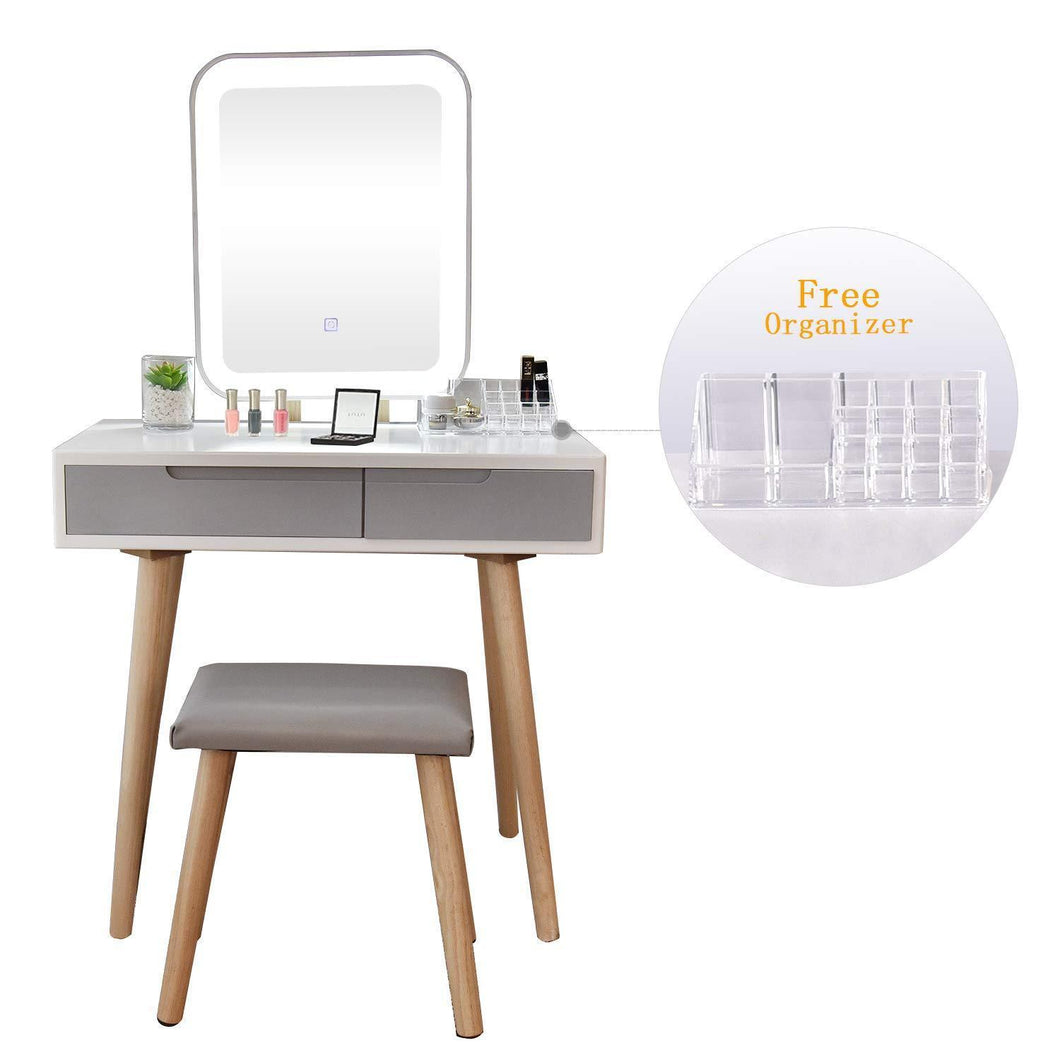 Discover the vanity table set with adjustable brightness mirror and cushioned stool dressing table vanity makeup table with free make up organizer