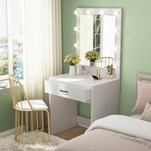 Load image into Gallery viewer, Organize with tribesigns vanity set with lighted mirror makeup vanity dressing table dresser desk with large drawer for bedroom white 10 warm led bulb