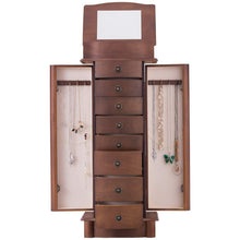 Load image into Gallery viewer, Explore giantex jewelry armoire cabinet stand with 8 drawers top divided storage organizer with flip makeup mirror lid large side door chest cabinets antique wood standing armoires jewelry box w 8 hooks
