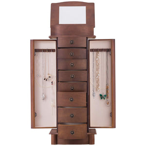 Explore giantex jewelry armoire cabinet stand with 8 drawers top divided storage organizer with flip makeup mirror lid large side door chest cabinets antique wood standing armoires jewelry box w 8 hooks