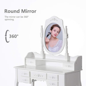 Home kinsuite makeup vanity table set white dressing table stool seat with oval mirror and 7 drawers storage bedroom dresser desk furniture gift for women girl