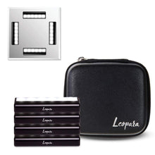 Load image into Gallery viewer, Discover the leopara makeup lighting system portable vanity lights professional lighting for any mirror travel friendly rechargeable onyx chrome
