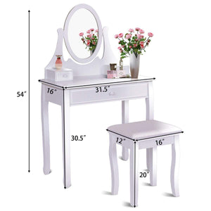 Best seller  giantex vanity table set with 360 rotating round mirror makeup mirrored dressing table with cushioned stool 3 drawers bedroom vanities for women girls detachable mirror stand to be a desk white