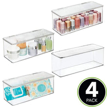 Load image into Gallery viewer, Shop here mdesign makeup storage organizer box for bathroom vanity countertops drawers holds beauty blenders eyeshadow palettes lipstick lip gloss makeup brushes hinged lid 13 4 long 4 pack clear