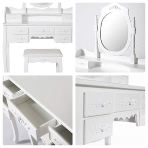 Explore kinsuite makeup vanity table set white dressing table stool seat with oval mirror and 7 drawers storage bedroom dresser desk furniture gift for women girl