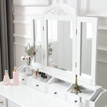 Load image into Gallery viewer, Related honbay vanity set tri folding necklace hooked mirror 7 large drawers free organizer 2 makeup brush holders makeup dressing table with cushioned stool for women girls white