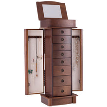 Load image into Gallery viewer, Get giantex jewelry armoire cabinet stand with 8 drawers top divided storage organizer with flip makeup mirror lid large side door chest cabinets antique wood standing armoires jewelry box w 8 hooks