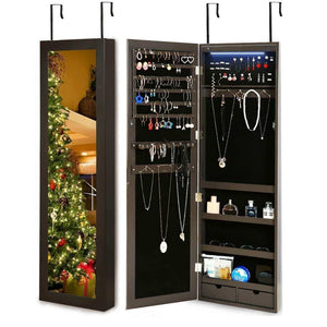 Shop for risar mirror jewelry cabinet wall door mounted jewelry armoire organizer with full length dressing mirror makeup jewelry storage brown