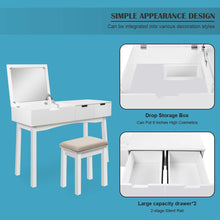 Load image into Gallery viewer, Save 39 17inch vanity dressing table set with flip top mirror makeup table writing desk 2 drawers 1 large storage space with drop organizers cushioned stool easy assembly white